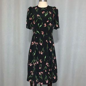 H&M black pink floral midi dress vintage style 8